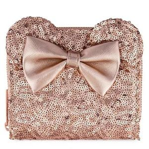Disney Minnie Sequined Wallet Loungefly Rose Gold